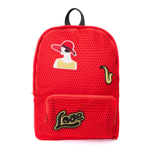 Red Embroidered Patch Mesh Backpack