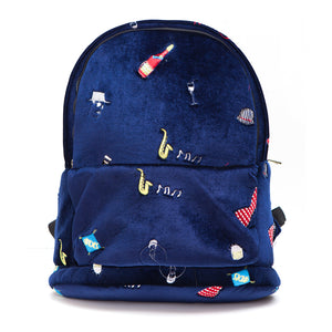 Blue Velvet Embroidered Patch Backpack