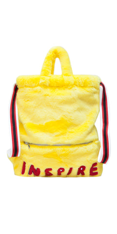 Yellow Fuzzy Embroidered Dual Backpack & Handbag