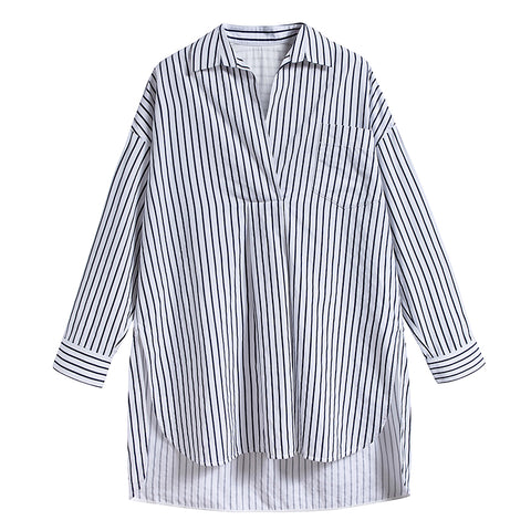 Black & White Stripe Longline Shirt
