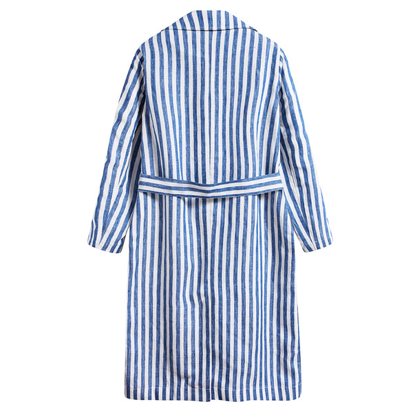White & Blue Stripe Trench Coat