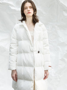 Uhetao White Tailored Quilted Down Jacket
