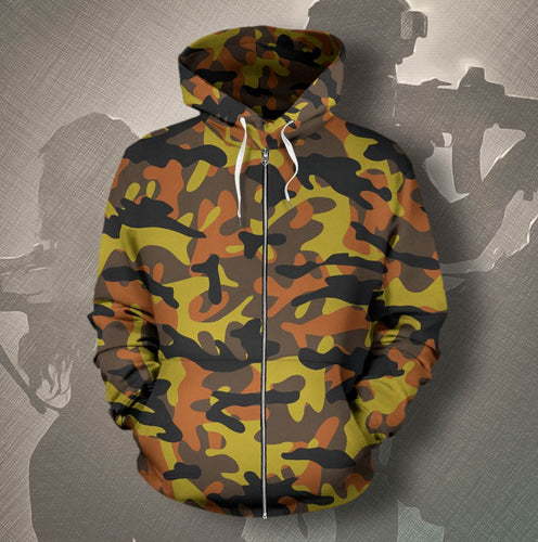Custom Fall Camo Zip-Up Hoodies