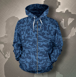 Custom Blue Tiger Camo Zip-Up Hoodies