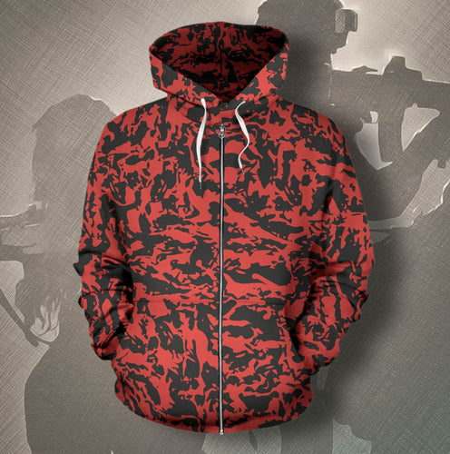 Custom Red Tiger Camo Zip-Up Hoodies
