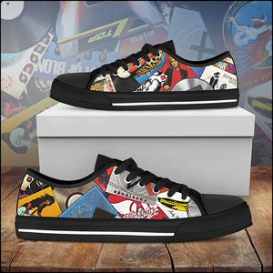 Women's Iconic Vinyl Collage Canvas Shoes (American Rock Edition)