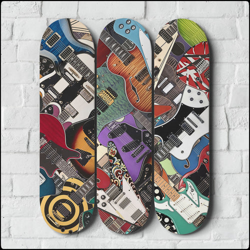 Guitar Legends Triple Skateboard Wall Art