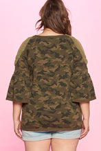 Load image into Gallery viewer, CAMO COULD SHOULDER KNIT TOP