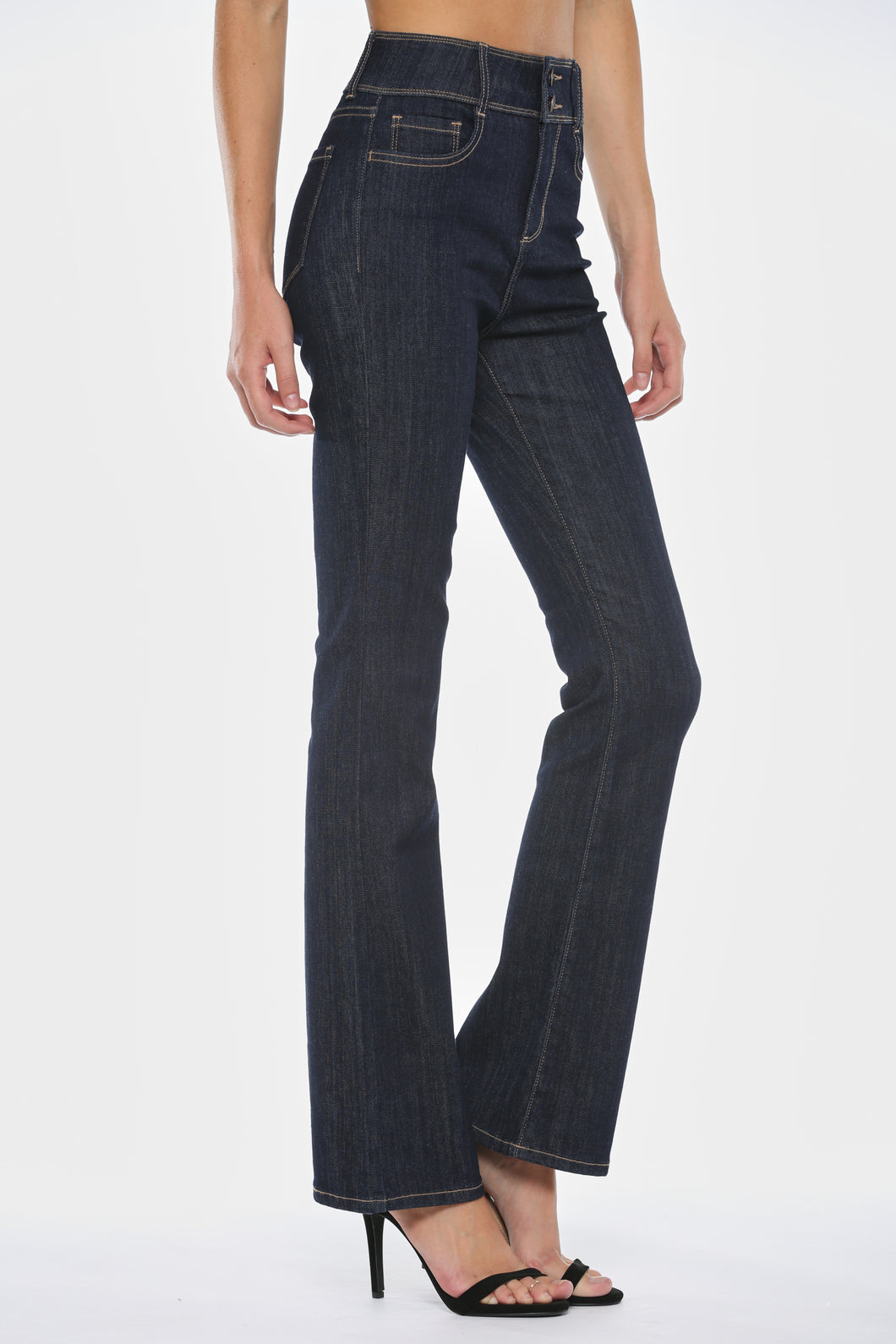HIGH RISE DOUBLE BUTTON BOOTCUT