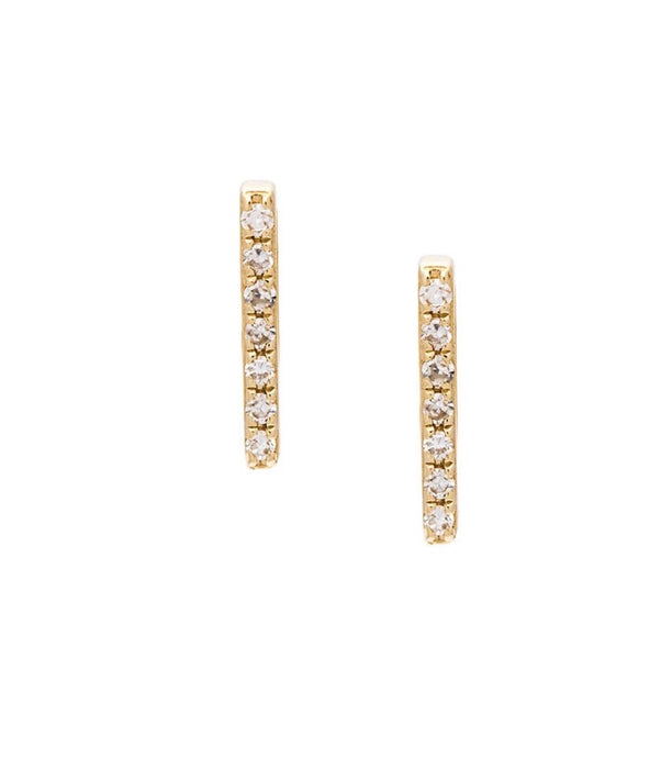 14K Gold Diamond Bar Earrings