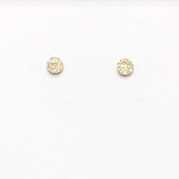 14K Gold Pave Mini Diamond Disc Earrings