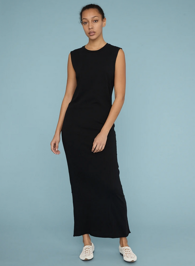 Raquel Allegra Black Jersey Muscle Maxi Dress