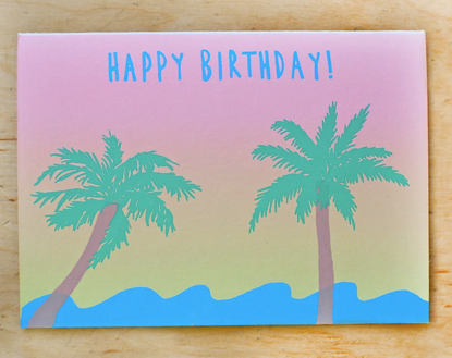 Gold Teeth Happy Birthday Beach Card