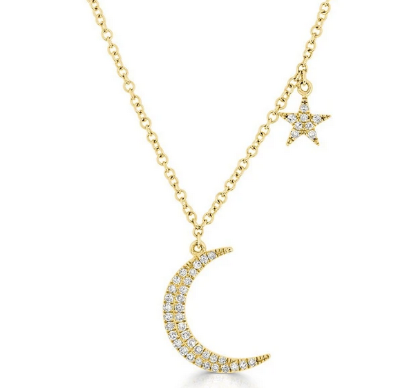 14K Gold Diamond Moon and Star Necklace