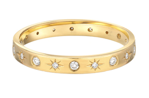 14K Gold Diamond Sunburst Ring