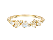 Load image into Gallery viewer, 14K Gold Moonstone and Diamond Cluster Ring