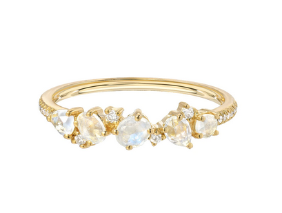 14K Gold Moonstone and Diamond Cluster Ring