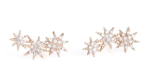 14K Gold Three Star Diamond Starburst Earrings