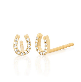 14K Gold Mini Horseshoe Diamond Earrings