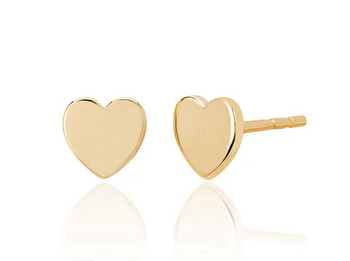 14K Gold Mini Heart Stud Earrings