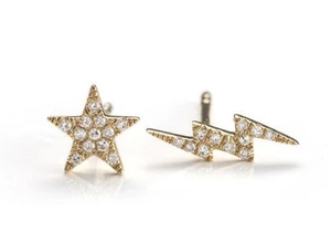 14K Gold Mini Diamond Lightening Bolt and Star Earrings