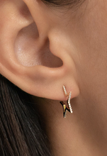 Load image into Gallery viewer, 14k Gold Diamond Open Star Earrings