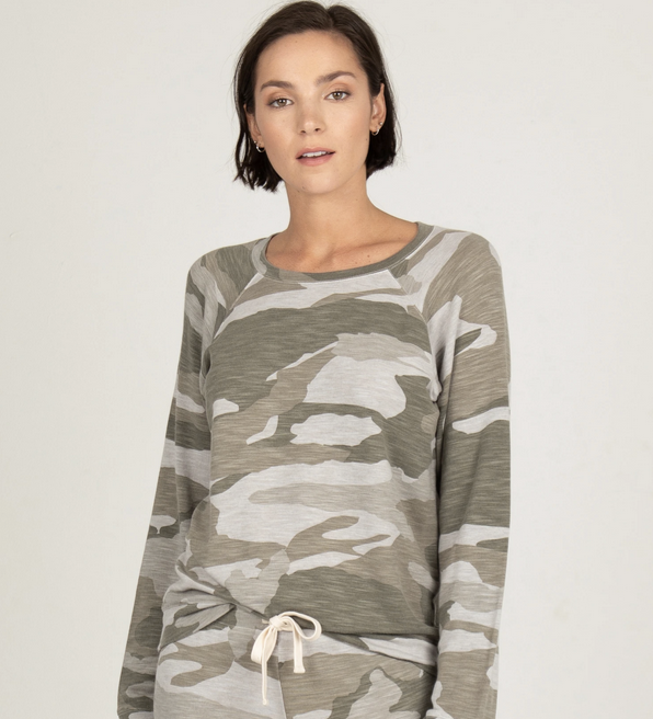 Monrow Supersoft Camo Raglan Sweatshirt