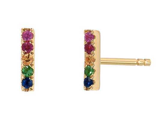 14K Gold Rainbow Bar Stud Earrings