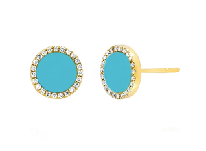 14K Diamond and Turquoise Studs