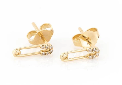 14K Gold Mini Diamond Safety Pin Earrings