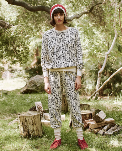 The Great Folk Print Cropped Sweatpant