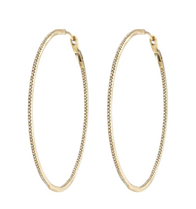 14K Gold Diamond Hoops 1""