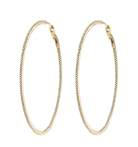 14K Gold Diamond Hoops