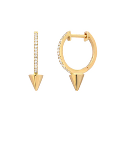 14k Gold Diamond Huggie Spike Earrings