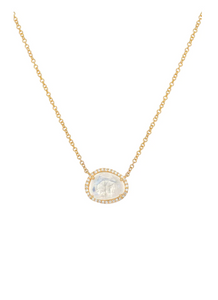 14K Gold Diamond Moonstone Necklace
