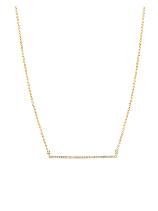 14K Gold Diamond Bar Necklace