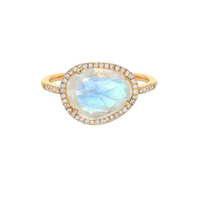 Load image into Gallery viewer, 14K Gold Moonstone Ring with Diamonds