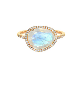14K Gold Moonstone Ring with Diamonds