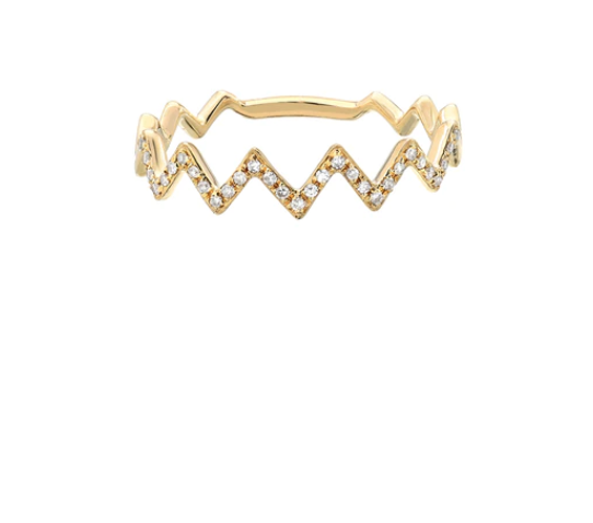 14K Gold Diamond Zig Zag Ring