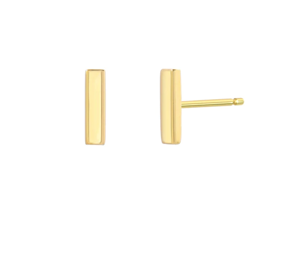 14K Gold Small Bar Stud Earrings