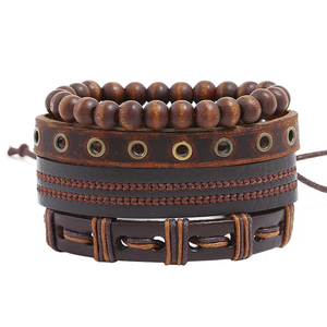 Neutral Earthtone Leather Bracelet Set