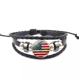 USA Flag Leather Bracelet