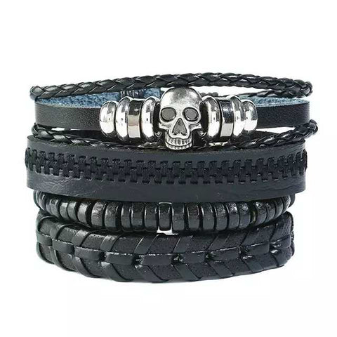 All Black Skull Bracelet Set
