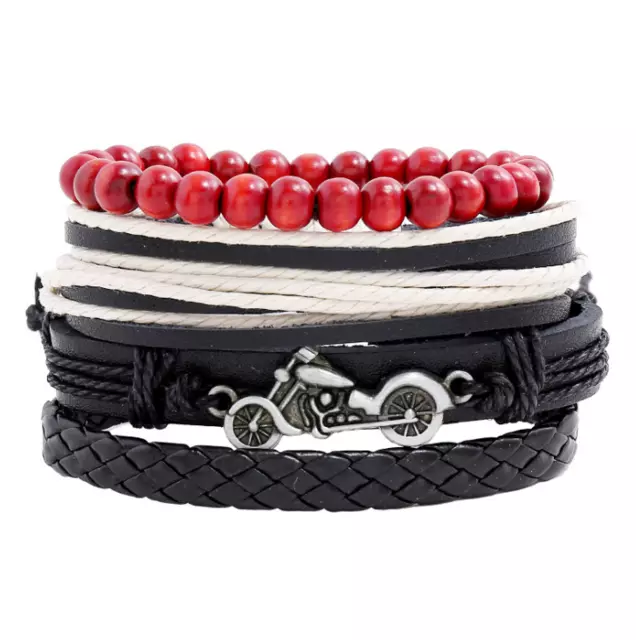 Motorcycle Bracelet Set - Red