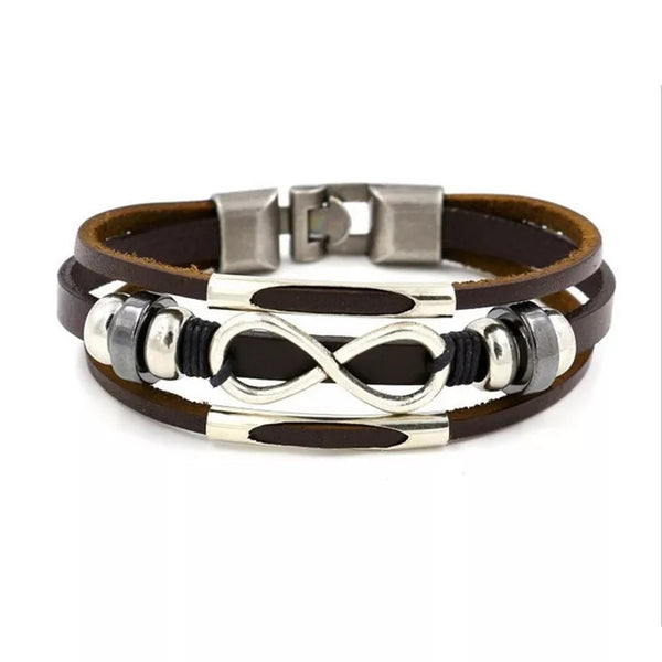 Infinity Leather Bracelet - Brown