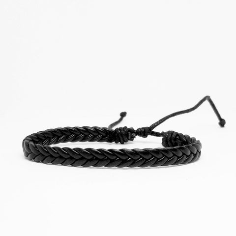 Black Woven Leather Bracelet