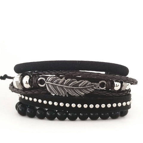 Heritage Multilayer Feather Bracelet Set