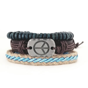 Peace Leather Bracelet Set - Aqua