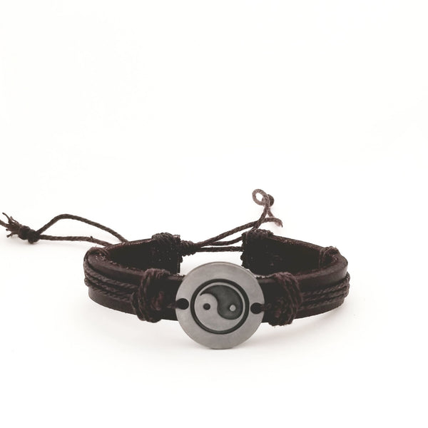 Yin Yang Bracelet Set - Brown