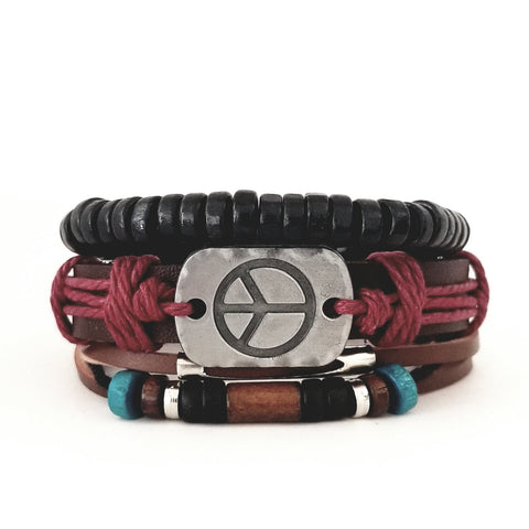 Peace Leather Bracelet Set - Multi